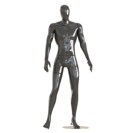 Black male sports mannequin on isolated white background. 3D rendering