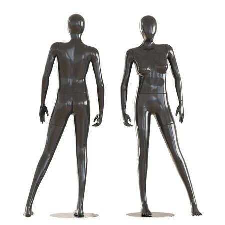 Two faceless female mannequins stand face forward and back forward on isolated white background. 3D rendering