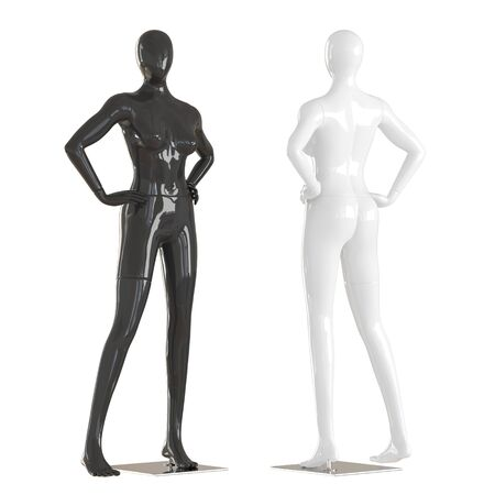 Two female mannequins stand putting hands on a belt on isolated white background. 3D rendering