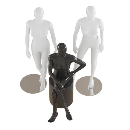 Two female mannequins are standing and one is sitting on isolated white background. 3D rendering