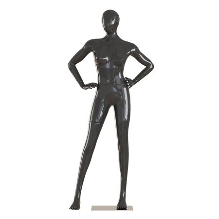 A female faceless black mannequin stands with his hands on his belt on isolated white background. 3D rendering