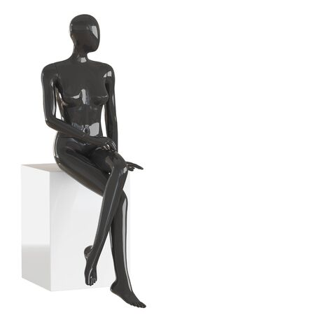 A black female mannequin sits on a white box on isolated white background. 3D rendering