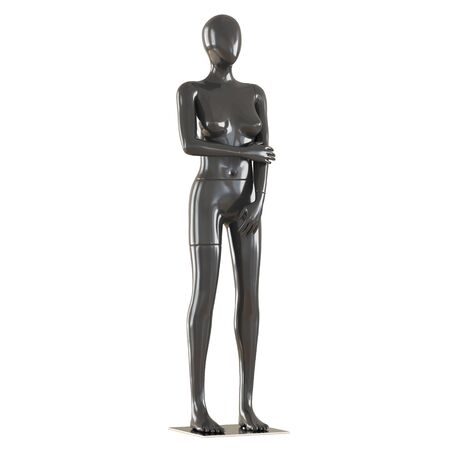 A black female mannequin stands on an iron mount on isolated white background. 3D rendering