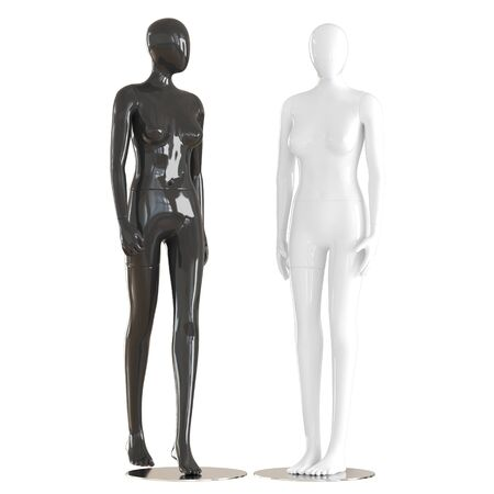 Two female faceless mannequins stand on isolated white background. 3D rendering