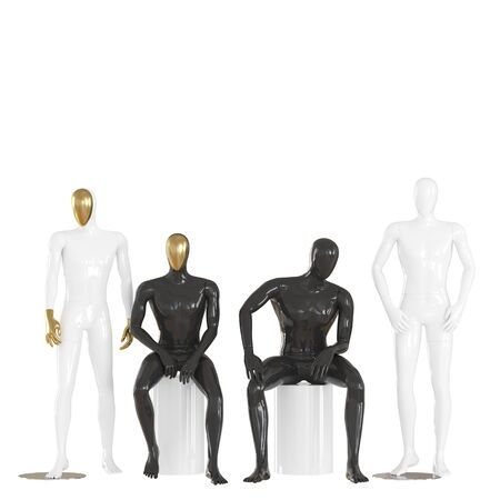 Four male mannequins in a sitting and standing pose on isolated background .3d rendering