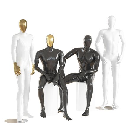 Four male mannequins in a sitting and standing pose on on isolated background .3d rendering Imagens