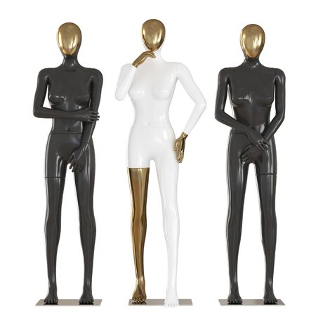 Three female mannequins with golden faces on isolated background .3d rendering