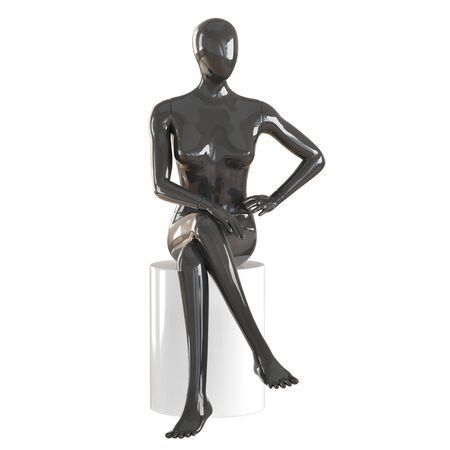 Black female mannequin sitting on a cylindrical stool on isolated background .3d rendering Imagens