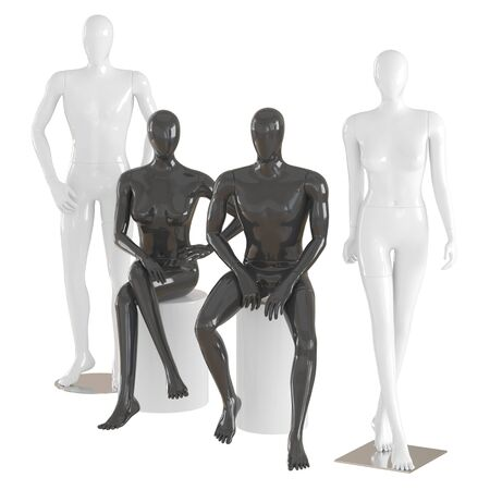 Dwa manekiny męskie i dwie żeńskie w pozie stojącej i siedzącej na na białym tle .3d renderowania