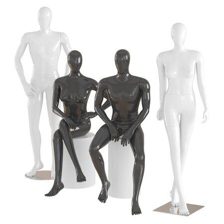 Zwei männliche und zwei weibliche Schaufensterpuppen in einer stehenden und sitzenden Pose auf isoliertem Hintergrund .3D-Rendering