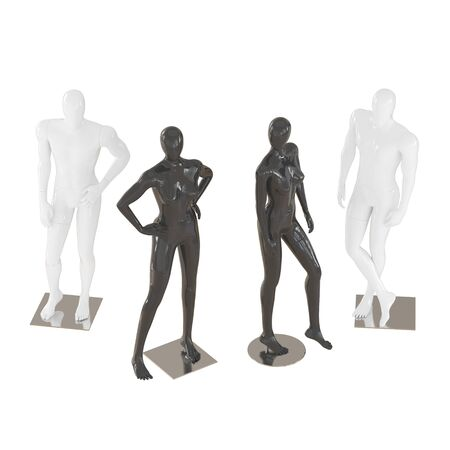 Two male and two female mannequins in a standing pose on isolated background .3d rendering