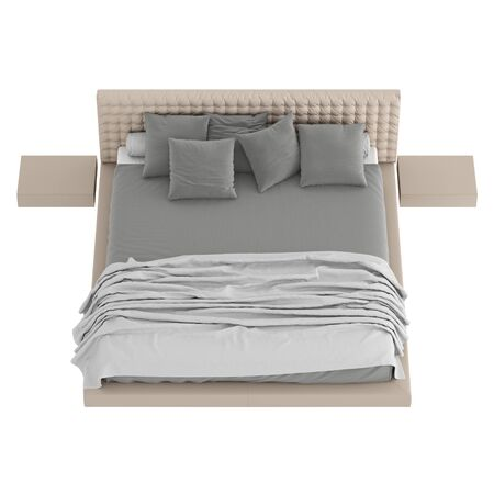 Bed with a blanket and pillows on isolated background. 3d rendering