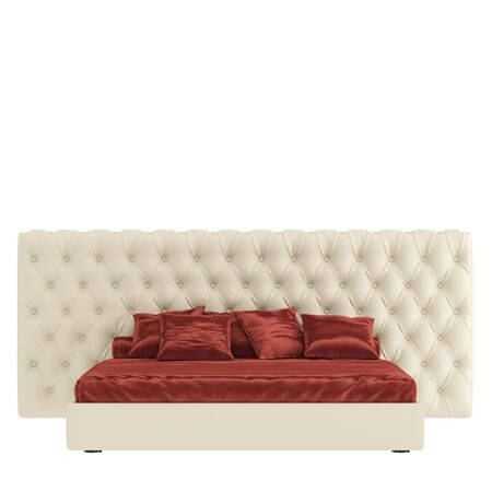 Bed with a red blanket and pillows on isolated background. 3d rendering
