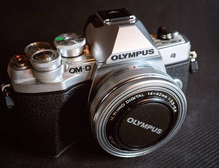 Russia Sochi 10.25.2019. Beautiful metal camera Olympus EM 10