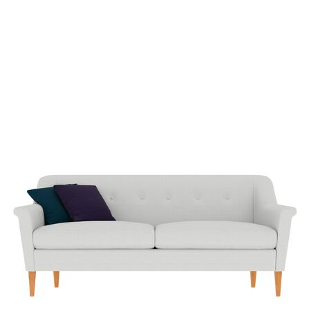 White sofa with three colored pillows front view on isolated background. 3d rendering
