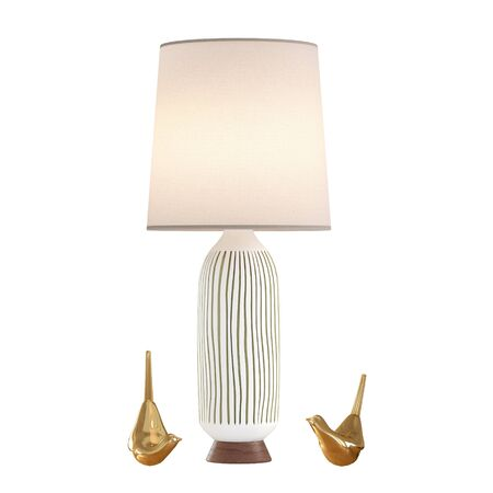 Decorative table lamp and two birds of gold on isolated background. 3d rendering