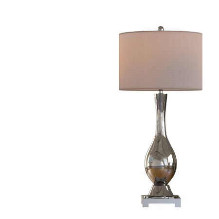 Decorative table lamp metal reflective base on isolated background. 3d rendering Stockfoto