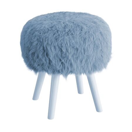 Blue fluffy stool made of sheepskin wool on hooves on isolated background. 3D rendering