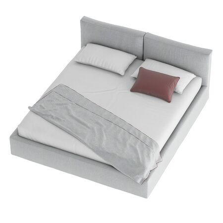 Gray double bed with pillows and bedspread on an isolated background. 3d rendering