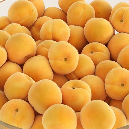 A mound of ripe yellow apricots on an isolated background closeup. 3D rendering 写真素材