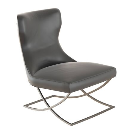 Black leather armchair on an isolated background. Side view. 3d rendering