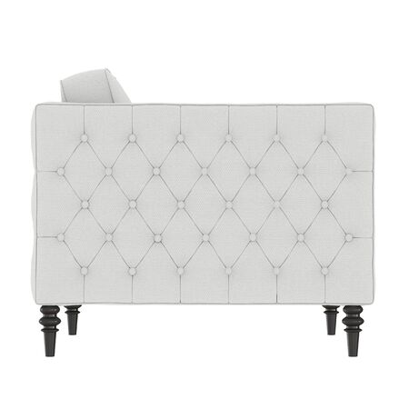White classic armchair from fabric on an isolated background side view. 3d rendering
