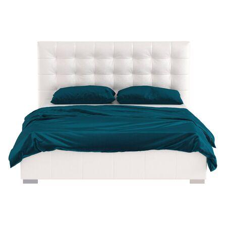 Un lit double en cuir blanc avec une haute tête de lit matelassée et du lin turquoise foncé sur fond blanc. Vue de face rendu 3D