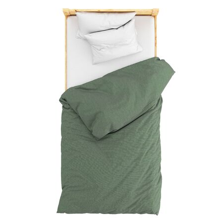 Wooden single bed with a white pillow and a green blanket on a white background. Top view. 3d rendering