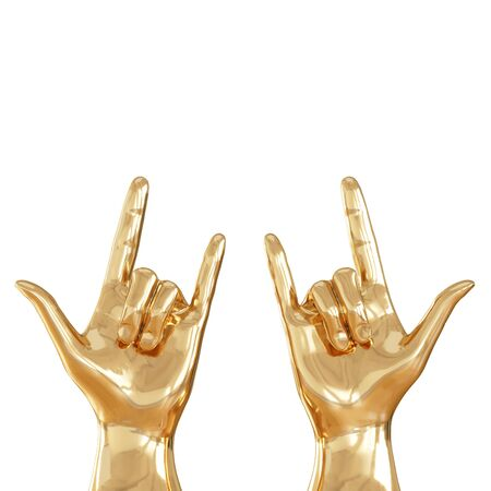 Two golden hands with three fingers raised up on a white background. Front view. Copyspace. 3d rendering