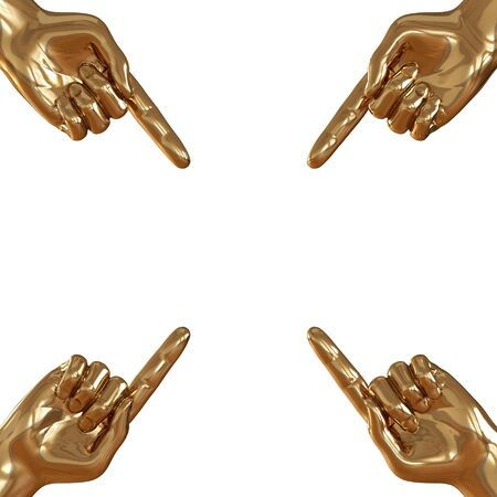 Four golden hands with raised forefinger in four corners on a white background. 3d rendering Banco de Imagens