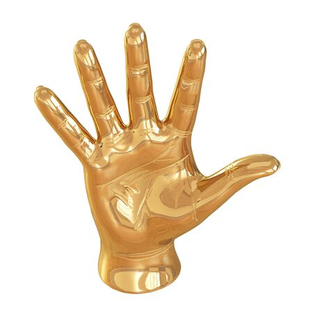 Golden statuette of a hand with an open palm on a white background. 3d rendering Banco de Imagens