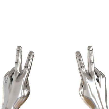 Two metal hands with two fingers raised up on white background. 3d rendering Stok Fotoğraf