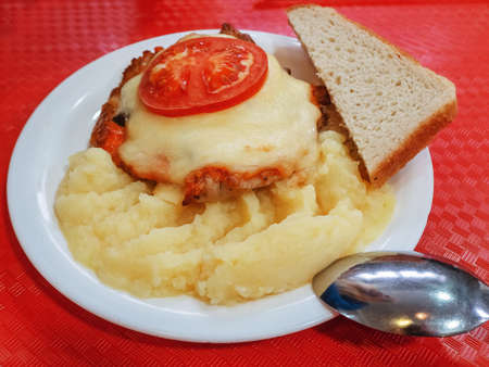 A plate with a baked piece of meat under cheese and tomato, with mashed potatoes and a piece of bread