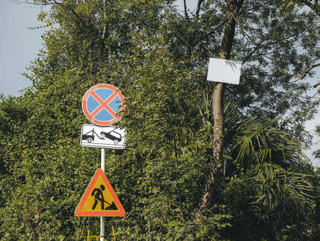 Traffic signs on a background of green trees next to an empty sign hanging on a tree trunk