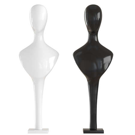 Two bust of mannequins black and white on stands on an isolated background. 3d rendering. Jewelry holder