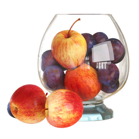 Transparent vase with apples and plums on a white background. 3d rendering