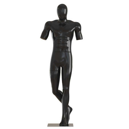 A male black faceless mannequin without hands on an isolated background. 3d rendering 版權商用圖片