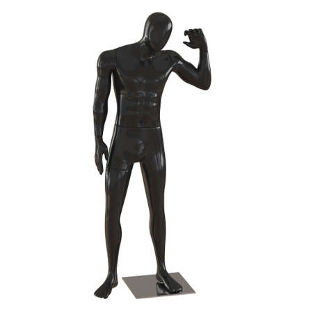 Male black faceless mannequin with raised hand on isolated background. 3d rendering