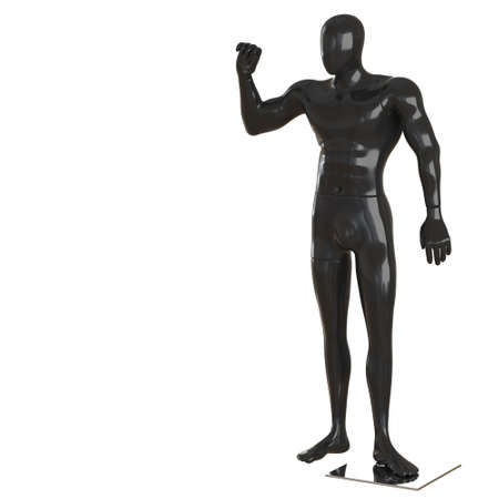 A male black abstract mannequin with a raised hand on a white background. 3d rendering