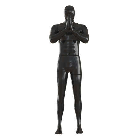 Male black abstract mannequin with folded hands in front of face on white background. 3d rendering