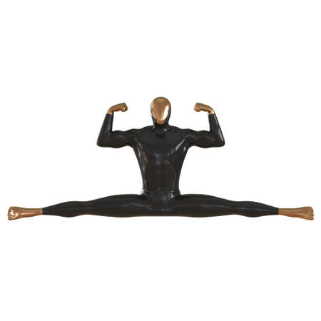 Black gold abstract male mannequin sitting in cross twine on isolated background. 3d rendering