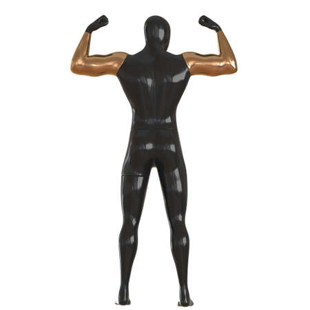 A black male mannequin with golden hands stands in an athletes pose on a white background. Back view. 3d rendering 版權商用圖片