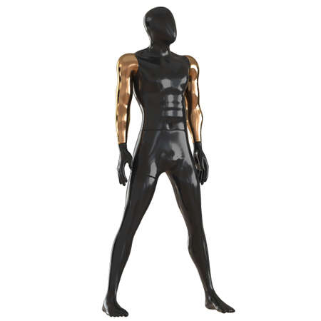 A black male faceless mannequin with golden hands stands wide apart legs on a white background. 3d rendering