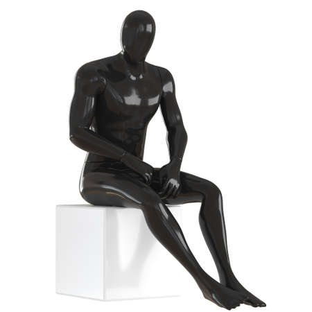 A black male faceless mannequin sits on a white cube on an isolated background. 3d rendering 版權商用圖片