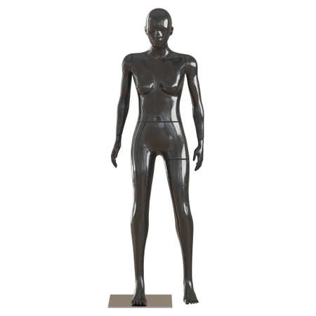 Black female glossy mannequin stands on a white background. Front view. 3d rendering