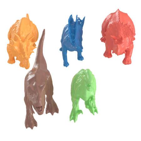 Collection of five multicolored dinosaurs on an isolated background. 3d rendering