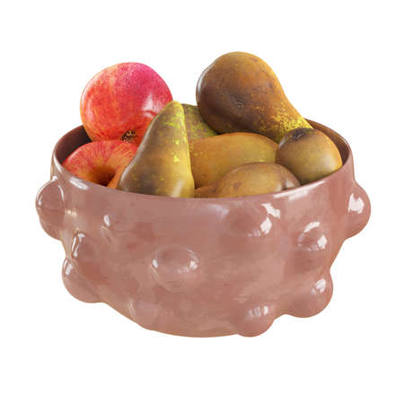 Ripe pears and apples in a pink pimpled ceramic vase on an isolated background. 3d rendering