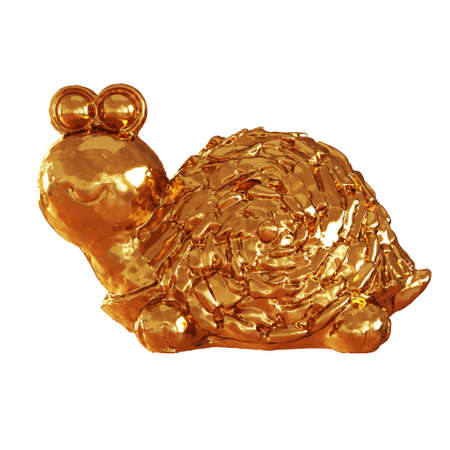 Golden shiny figurine of a turtle with round eyes on an isolated background. Side view. 3d rendering 版權商用圖片