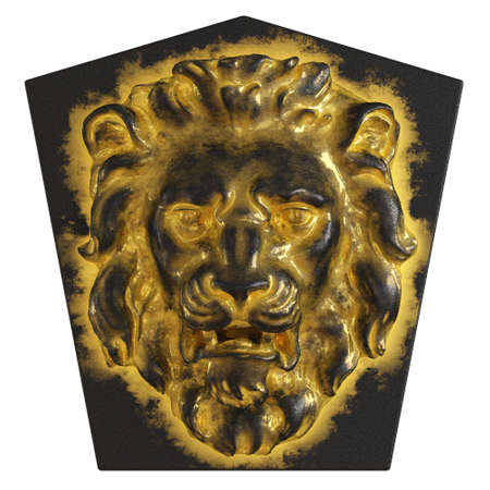 Black pentagonal slab with a basrelief lions head in black and gold. Front view. 3d rendering