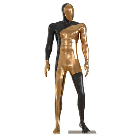 A male black gold mannequin stands with its head turned to the side on an isolated background. 3d rendering 版權商用圖片